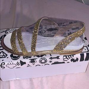 Gold Glitter Strap sandals